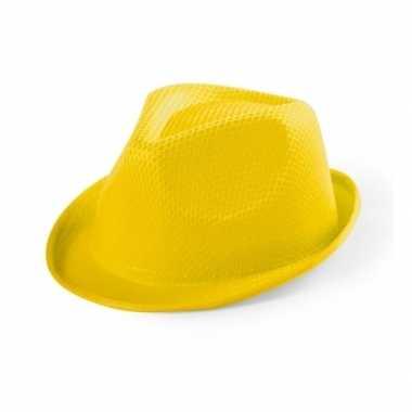 Geel gleufhoedje voor kinderen hoed