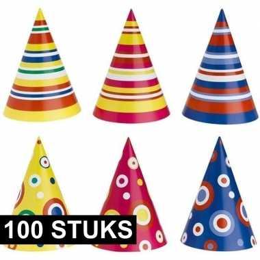 Gekleurde feesthoedjes 100 stuks