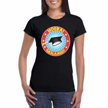 Geslaagd t-shirt met afstudeerhoedje zwart dames