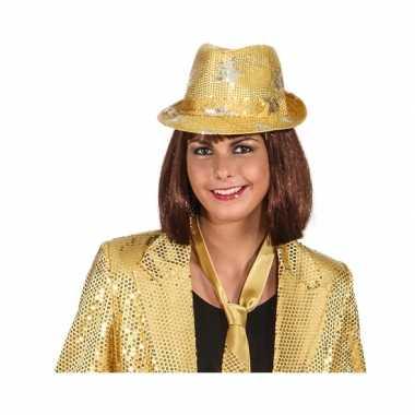 Goud glimmend disco hoedje met sterren