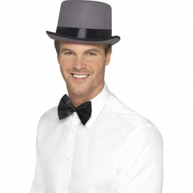 Grijze hoge hoed satijn look voor heren