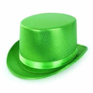Groene hoge hoed metallic voor volwassenen