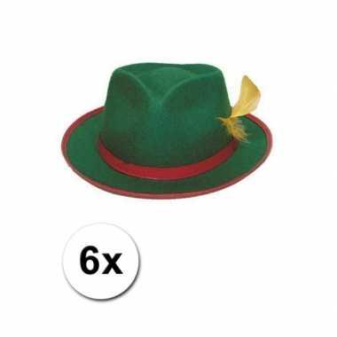 Groepsverpakking groene tiroler hoedjes 6x