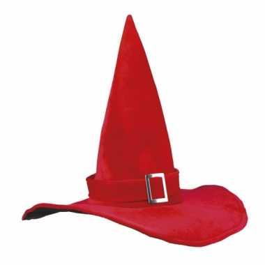 Halloween heksenhoed rood met gesp