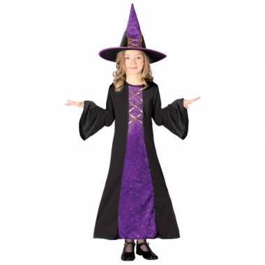 Halloween heksenjurk met hoed voor kinderen paars