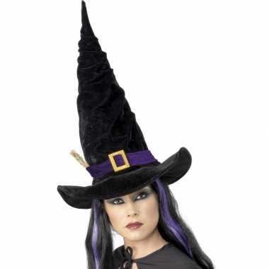 Heksen hoed zwart met paars