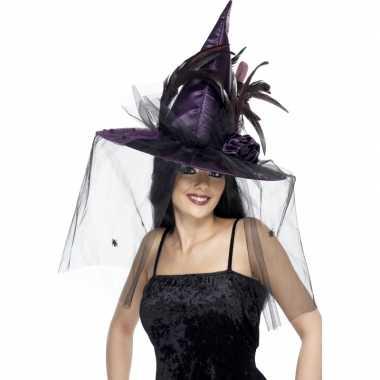 Heksen verkleed hoeden paars