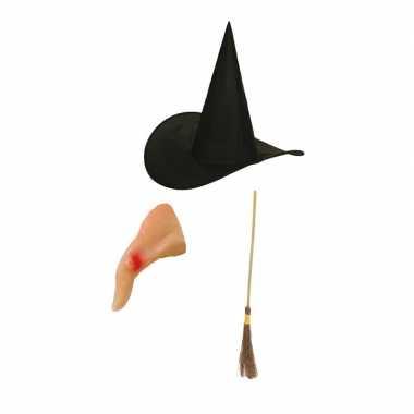 Heksen verkleed set voor kinderen met bezem hoed en neus