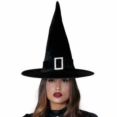 Heksenhoed zwart fluweel voor volwassenen