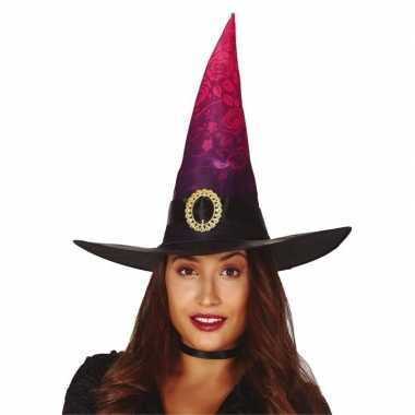 Heksenhoed zwart roze met gesp voor dames hoed