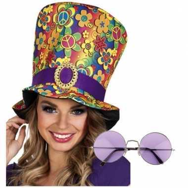 Hippie accessoires verkleedset hoed met bril