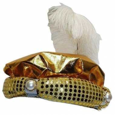 Hoed sultan goud met pluim en parel