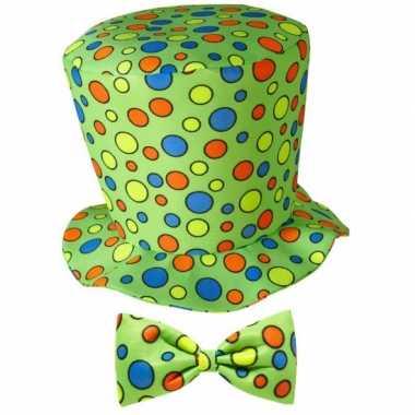 Hoge fun hoed groen met strik