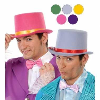 Hoge gele clowns hoed van vilt