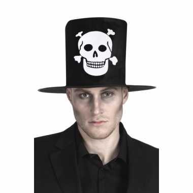 Hoge hoed zwart met skelet