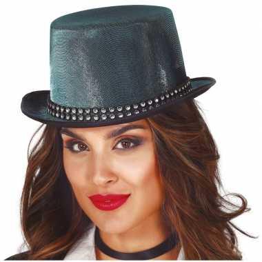 Hoge verkleedhoed blauw met steentjes voor volwassenen hoed