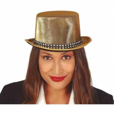 Hoge verkleedhoed goud met steentjes voor volwassenen hoed