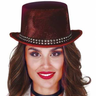 Hoge verkleedhoed rood met steentjes voor volwassenen hoed