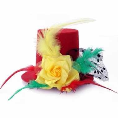 Hoog mini hoedje op clip rood/geel/groen voor dames