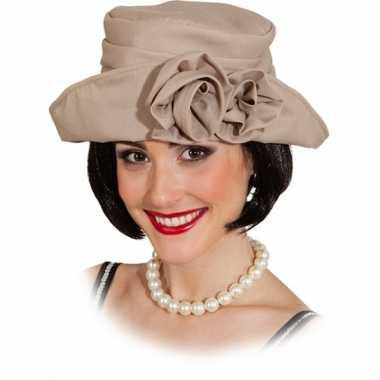 Jaren 20 dameshoed beige hoed