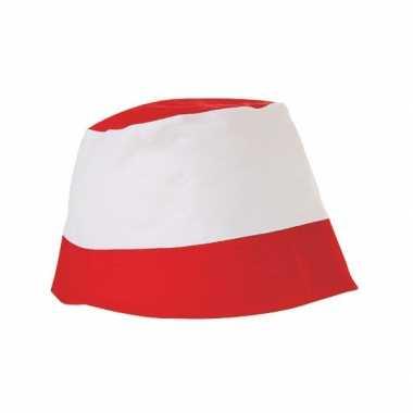 Katoenen zonnehoedjes rood wit hoed