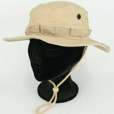 Khaki vissershoedje met trekkoord hoed