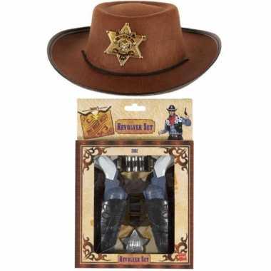 Kinder cowboy verkleed set - hoed met 2x pistolen