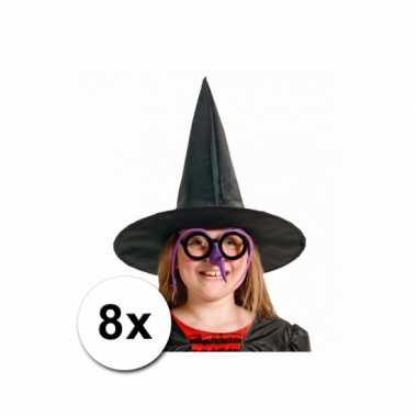 Kinder feesthoedjes voor heksen 8 st
