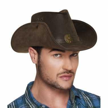 Luxe bruine cowboyhoed nevada lederlook voor volwassenen