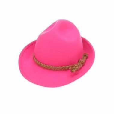 Luxe neon roze tirolerhoed