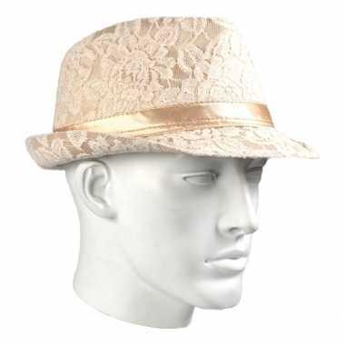Luxe trilby hoedje met kant motief