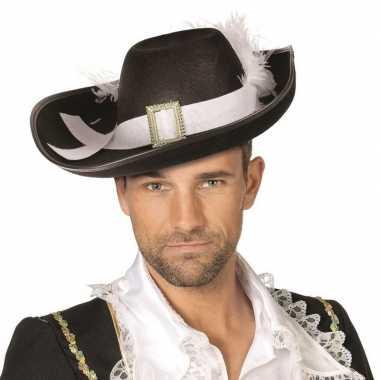 Musketiers hoeden zwart met wit