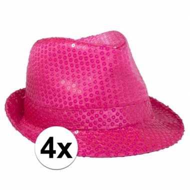 Neon roze feesthoed met glimmers 4 stuks