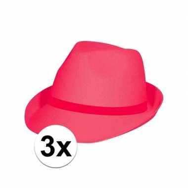 Neon roze hoeden voor volwassenen 3 stuks