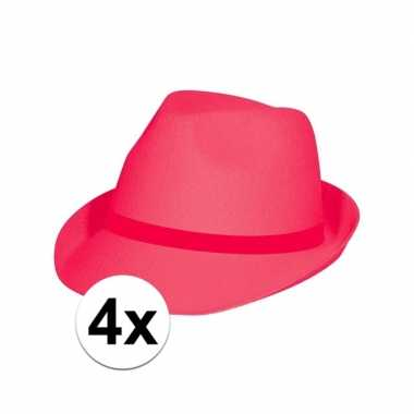 Neon roze hoeden voor volwassenen 4 stuks
