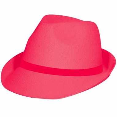 Neon roze hoedje voor volwassenen