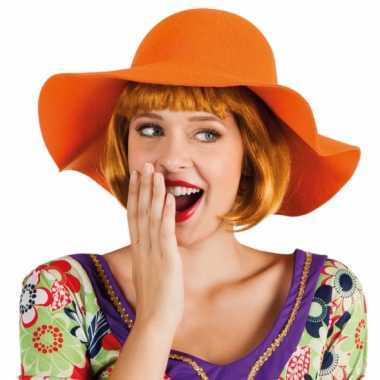 Oranje hippie flaphoed hoed