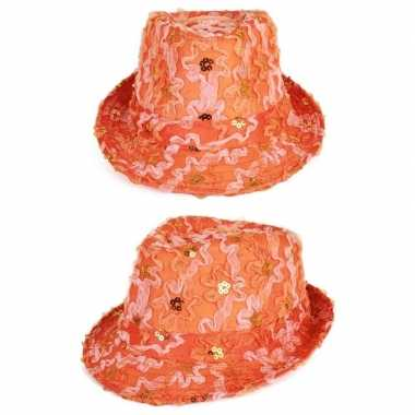 Oranje trilby verkleed hoedje dames met ruches en pailletten