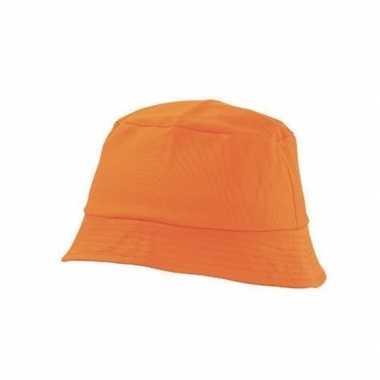 Oranje vissershoedje/zonnehoedje voor volwassenen