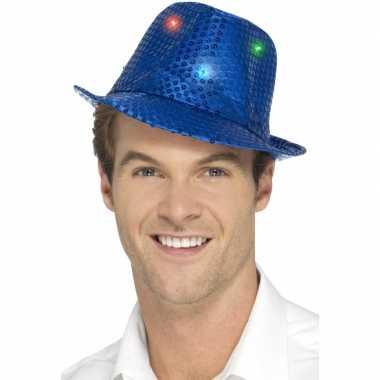 Pailletten hoedje blauw met led lichtjes