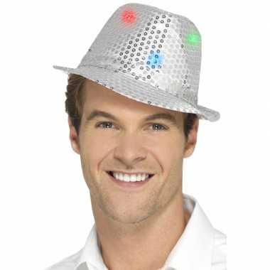 Pailletten hoedje zilver met led lichtjes