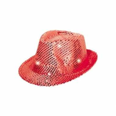 Pailletten trilby hoed rood led light