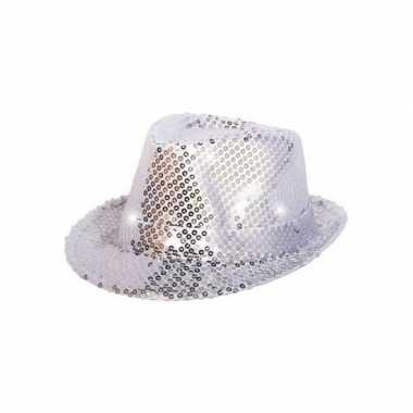 Pailletten trilby hoed zilver led light