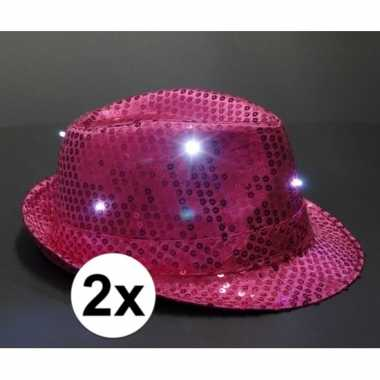Pailletten trilby hoeden roze led light 2 stuks