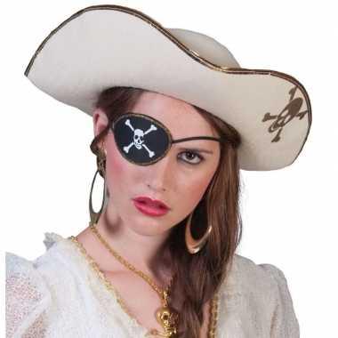 Piratenkostuum accessoires witte piratenhoed met schedel
