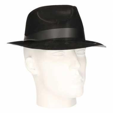 Polyester zwart gleufhoedje voor volwassenen hoed 10102596