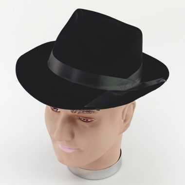 Polyester zwart gleufhoedje voor volwassenen hoed