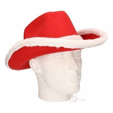 Rode cowboy kersthoed voor volwassenen hoed