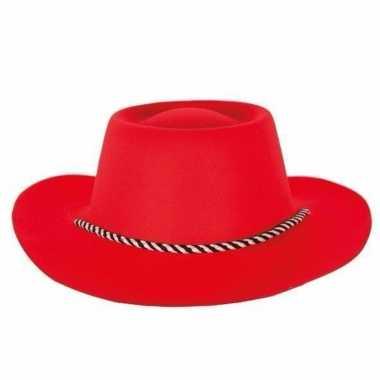Rode cowboyhoeden voor dames en heren