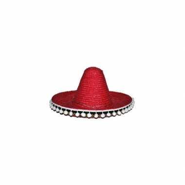 Rode mexicaanse verkleed sombrero hoed 60 cm voor volwassenen